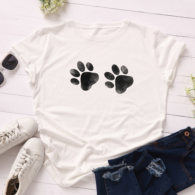 Dog Paw Printed Women T-Shirt