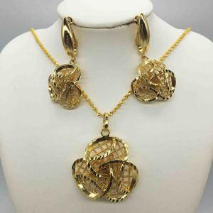 Африканские ювелирные изделия, распродажа, очаровательное женское ожерелье, серьги, Дубай, золотые украшения для женщин, Свадебный комплек...