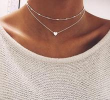 Fashion simple heart multilayer necklace with stainless steel for women zinc alloy pendant necklace jewelry wholesale