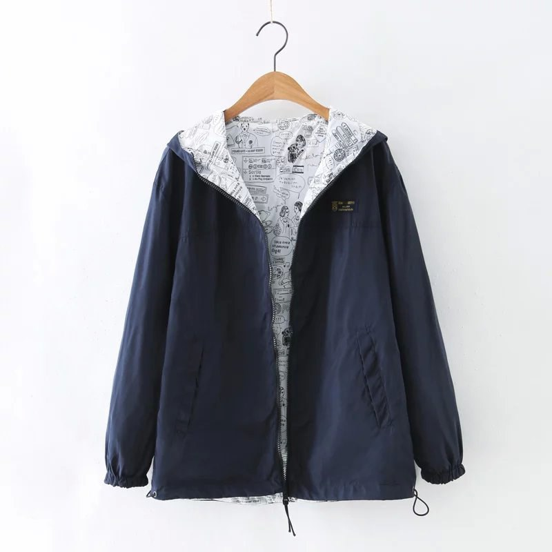 Autumn Women Casual Bomber   Basic     Jacket   Pocket Zipper Hooded Two Side Wear   Jacket   Cartoon Print Outwear Loose Coat