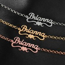 Jewelry Bracelet Heart-Name Charms Custom Stainless-Steel Gold-Plated Personalized Women