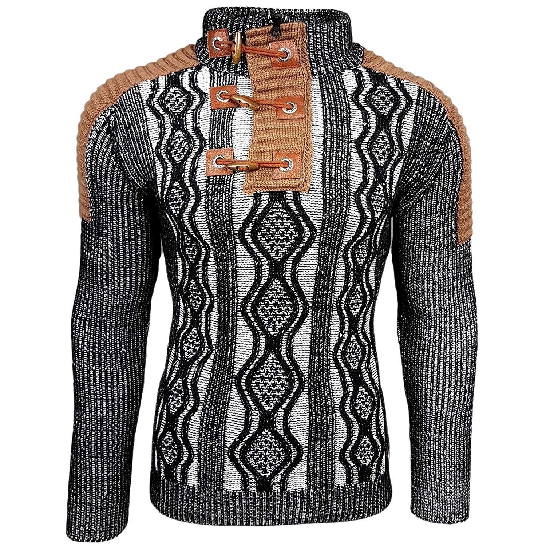 ZOGAA Autumn Winter Men Ripped Patchwork Oversize Knitted Sweater Irregular Design Hip Hop Punk Knitwear Men Vintage Pullover