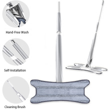 X-type Microfiber Floor Mop with 3pc Cloth Replace Hand-free Wash Flat Manual Extrusion Spin Household Cleaning Tool