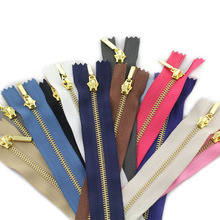 3pcs 3# 15cm metal zipper brass close-end auto lock clothing for sewing zippers