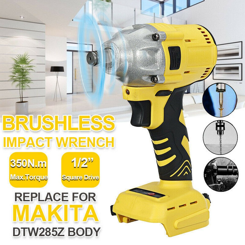 Tools : Brushless Cordless Electric Impact Wrench 18V 520Nm Makita Battery Socket Wrench Power Tool Wireless Batteryless and Accessories
