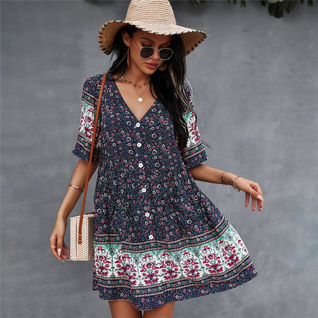 2021 Spring Print Short Dress Women Casual V Neck Bohemian Short Sleeve Dress For Woman Fashion Sexy Summer Dress 3