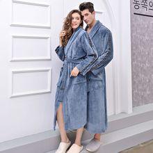 2019 Winter Unisex Bathrobe Women Men Thicken Warm Flannel Robes Lovers Plus Size Kimono Bath Robe Couples Dressing Gown
