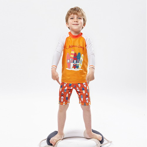 2019 New Style Children's Swimsuit BOY'S Crab Exported Split Boxer Swimming Trunks Swimming Cap Swimming Suit