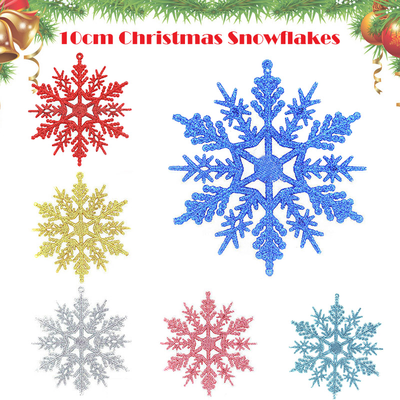 1 Set Glitter Snowflake Christmas Ornaments Xmas Tree Window Hanging Decoration AN88