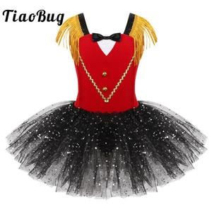 Image 1 - Crianças meninas dia das bruxas ringmaster circo traje borla lantejoulas malha tutu ballet vestido ginástica collant desempenho dança wear