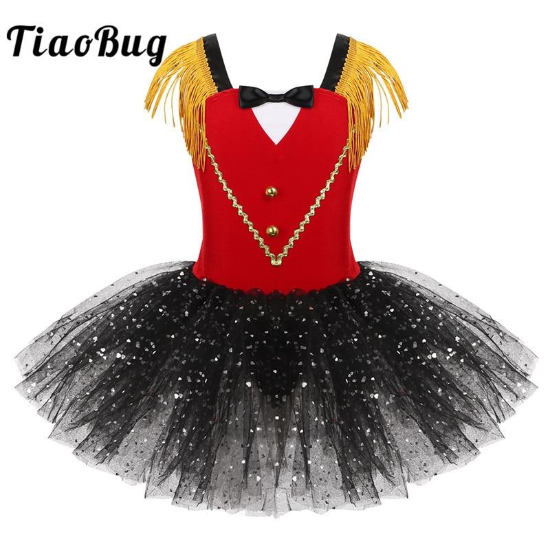 Kids Girls Halloween Ringmaster Circus Costume Tassel Sequins Mesh Tutu Ballet Dress Gymnastics Leotard Performance Dance Wear