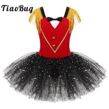 أطفال بنات هالوين Ringmaster السيرك زي شرابة الترتر شبكة توتو الباليه فستان الجمباز يوتار أداء الرقص ارتداء