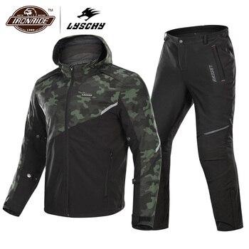 LYSCHY chaqueta impermeable de la motocicleta + pantalones traje de la chaqueta de la Moto de invierno de los hombres de la motocicleta que monta la ropa protectora de la armadura del engranaje de la motocicleta