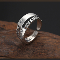 Chain ring female S925 sterling silver creative mosaic love star opening jewelry fashion hipster personality