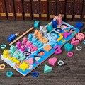 Multi função placa de log educação precoce de montessori seis em uma figura de pesca brinquedo correspondência puzzle presente para crianças