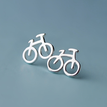 100% 925 Sterling Silver Women Jewelry Fashion Cute Tiny 10mmX8mm Bicycle Stud Earrings For Daughter Girls