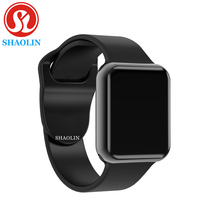 Bluetooth Smart Watch Case for Apple iphone samsung xiaomi android phone pk Smartwatch apple watch (Red Button)
