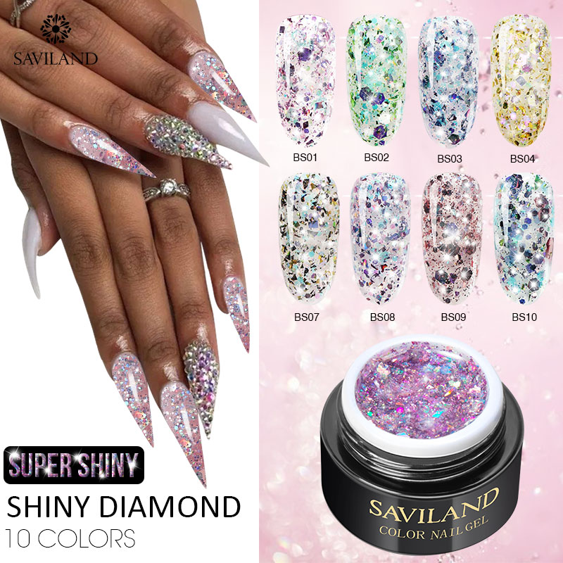 SAVILAND Shiny Diamond Gel Nail Polish Super Glitter 6ml Pink Gold Holographic Gel Polishes Lacquer For Nails Salon Art Design