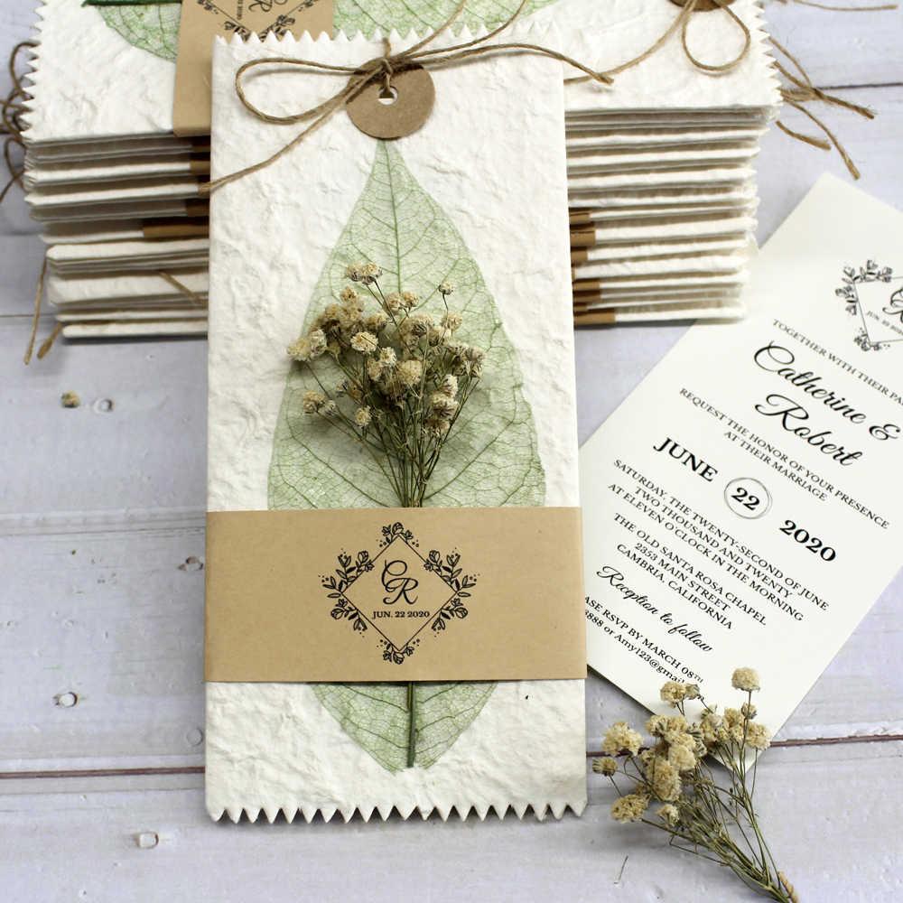 Vintage Wedding Invitations Flower Invitation Card Creative Wedding Invite  With Customized Wording Set of 30 pcs    - AliExpress
