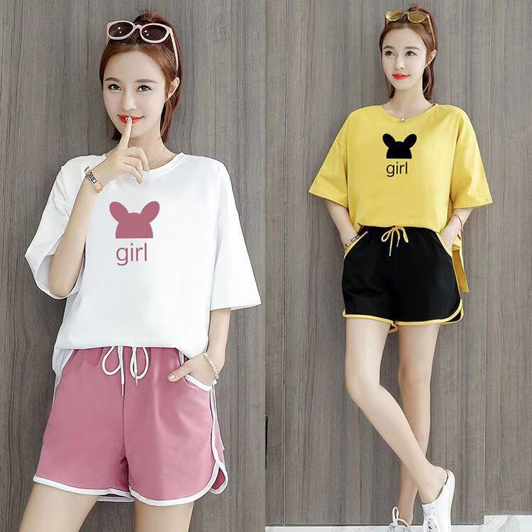 2019 Summer Running Sports WOMEN'S Suit New Style Loose-Fit Fashion Western Style Tops With Shorts Casual Two-Piece Set Fashion