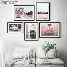 Дорожная фотография постер розового луга скандинавский пейзаж