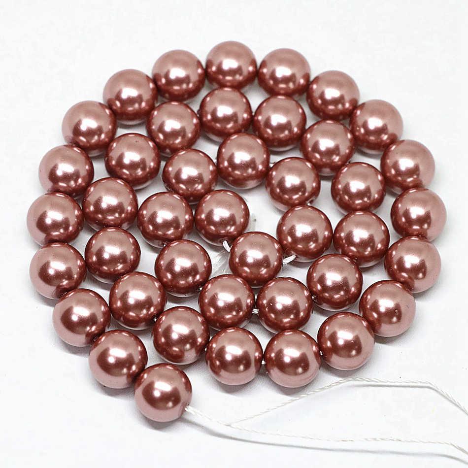 Fashion Baru Kualitas Tinggi Champagne Bulat Manik-manik Longgar Imitasi Shell Mutiara Baru Pilih Ukuran 4-14 Mm Diy Beads membuat Perhiasan 38 Cm E1