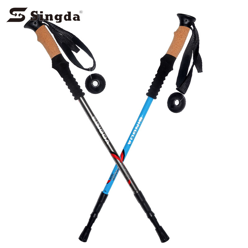 SINGDA Outdoor 7075 Alpenstock Three-section Hiking Rod Crutches Walking Wand Aluminium Alloy Folding Rod