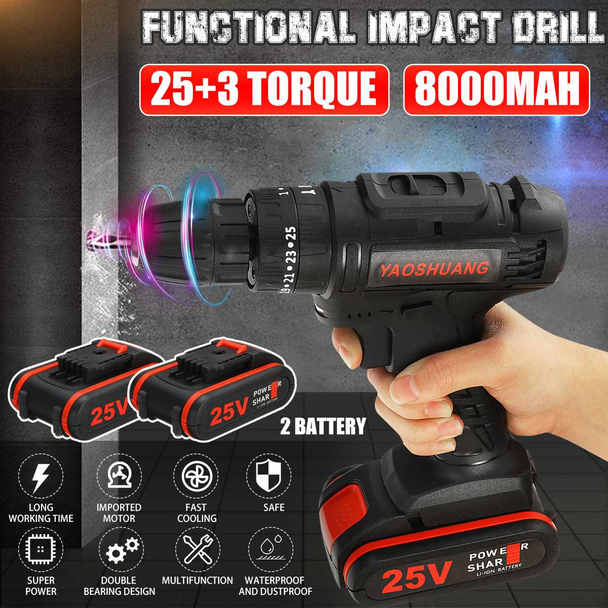 YAOSHUANG 25V 3/8 Cordless Rechargeable Electric Drill Impact Hammer Screwdriver Power Battery Drill With Drill Bit 2 Battery