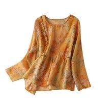 100% Ramie Prairie Chic Print Blouse Women 2020 Ruffles Blouses Mujer De Moda 2020 Verano Women's Dress for Everyday