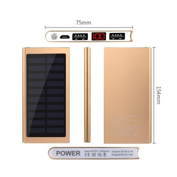 30000mAh Power Bank Solar Ultra High Capacity External Ultra Thin 9mm Charger for Mobile Phone for Outdoors/camping/explore 5