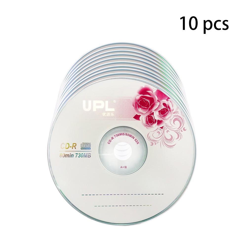 10 pces CD-R 700 mb/80 min disco em branco grau a 52x disco de música multivelocidade cd