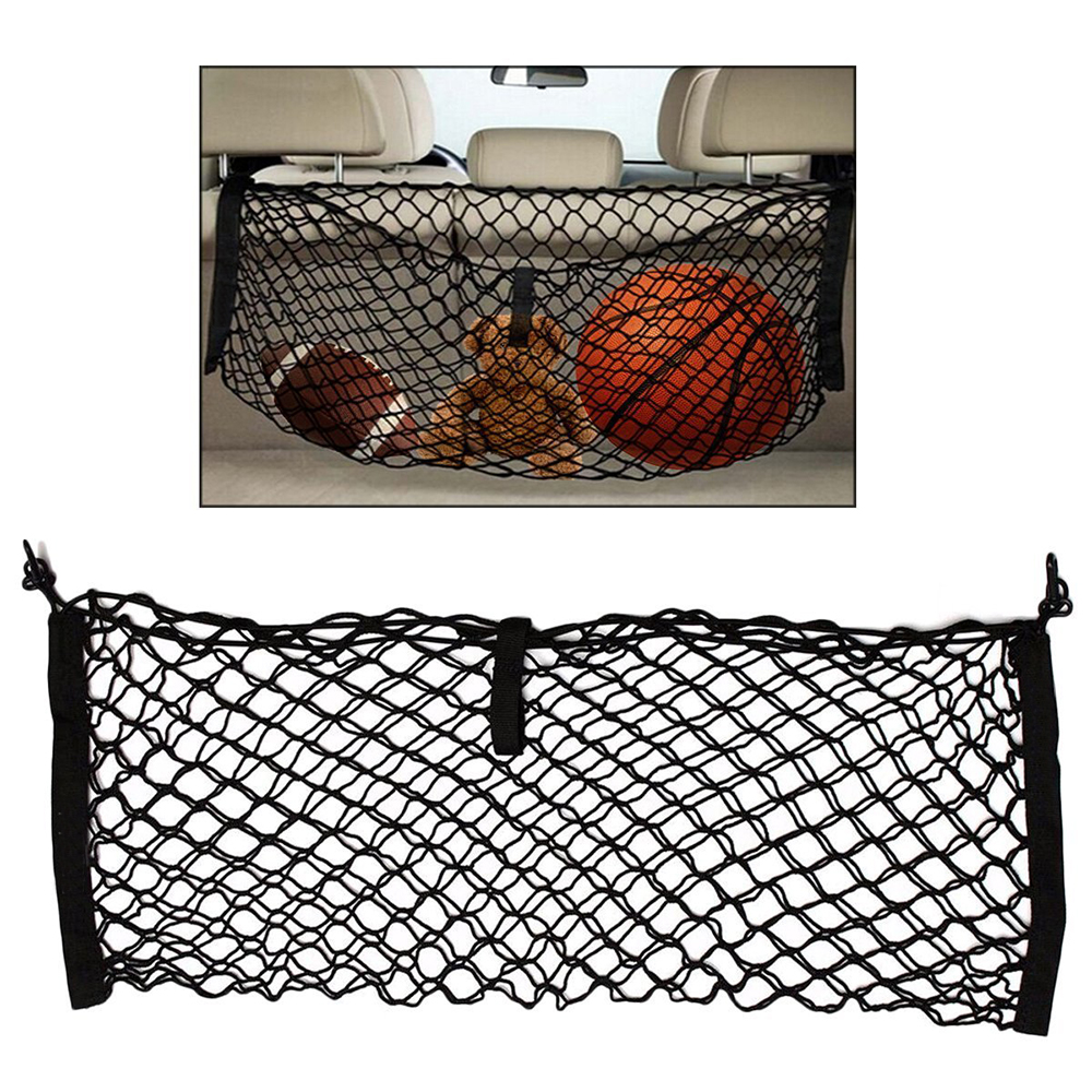 Car Auto Trunk Rear Cargo Organizer Storage Mesh Net Holder with 4 Hooks Durable Car Styling Accessories Elastic Hammock image