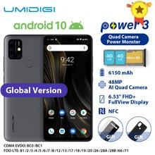 هاتف UMIDIGI Power 3 محمول يعمل بنظام الأندرويد 10 وكاميرا AI رباعية 48 ميجابكسل مع بطارية 6150 مللي أمبير في الساعة وشاشة 6.53 بوصة فائقة الوضوح + 4 جيجابايت وذاكرة داخلية 64 جيجابايت إصدار عالمي من Helio P60 هاتف ذكي NFC