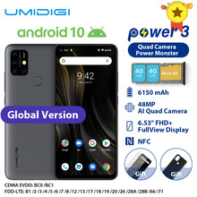 """Umidigi電源 3 機動電話アンドロイド 10 48MPクワッドaiカメラ 6150mah 6.53 """"fhd + 4 ギガバイト 64 ギガバイトエリオP60 グローバルバージョンスマートフォンのnfc"""