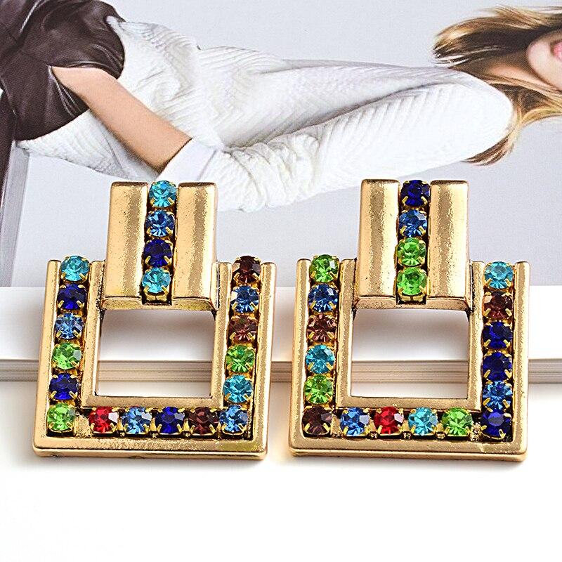 Chegada nova metal geométrico quadrado ouro cristal brincos de alta qualidade moda tendência jóias acessórios para mulher