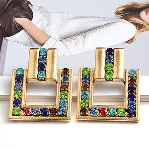 Новое поступление, металлические Геометрические Квадратные золотые хрустальные Висячие серьги высокого качества, модные трендовые ювелир...