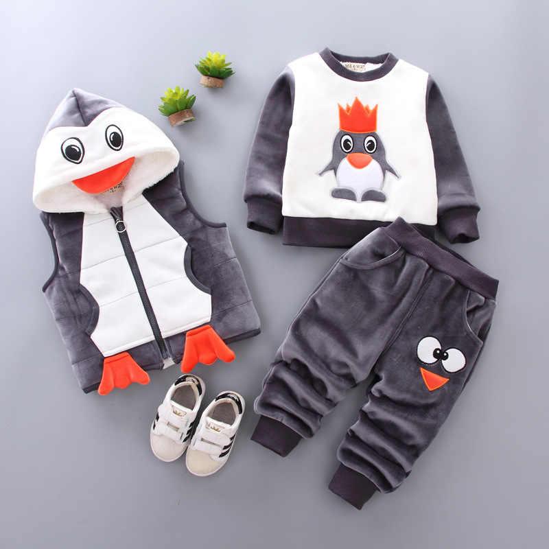 아기 소년의 옷 코 튼 따뜻한 양복 곰 만화 인쇄 플러스 벨벳 패딩 된 스웨터 아기 소녀의 옷 두건 된 조끼 3 조각
