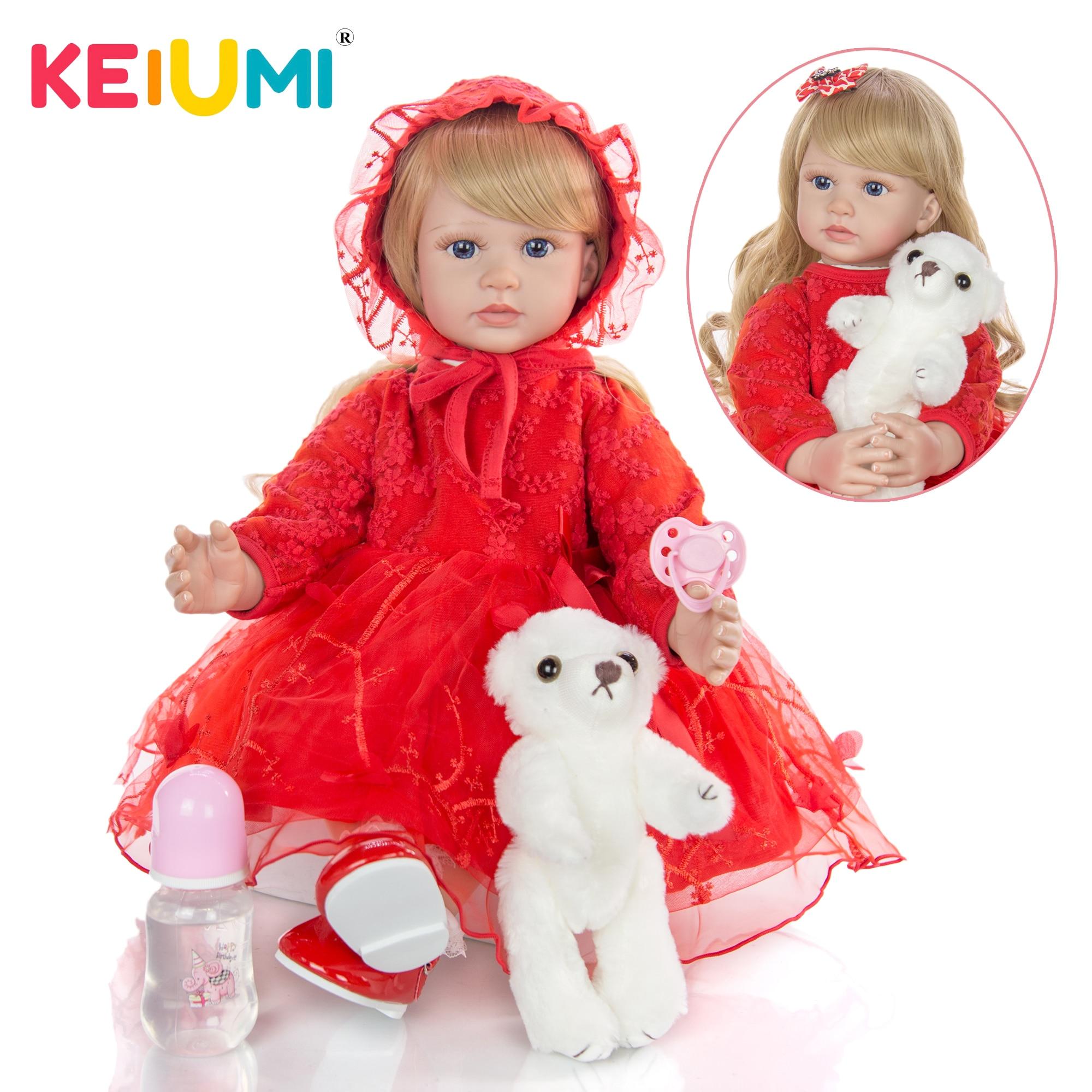 KEIUMI belles longues boucles en or renaissent bébé fille poupées corps en tissu doux 60 cm poupées ethniques pour fille cadeaux de fête des enfants