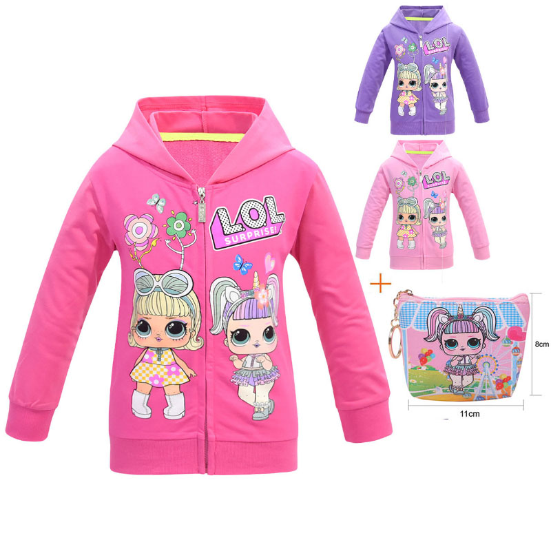 2019 New Surprise Doll Children LOl Hooded Cardigan Jacket Doll Cartoon Girl Hooded Jacket + Bag