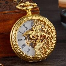 Montre de poche mécanique ajourée pour hommes, horloge Phoenix Bird, squelette romain, enroulement à la main, chaîne Fob, boîtier Double