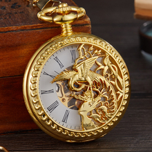 Vintage Mechanical Pocket Watch Hollow Phoenix Bird Roman Skeleton Clock Hand Winding Men Fob Chain Watches Double Case Clock