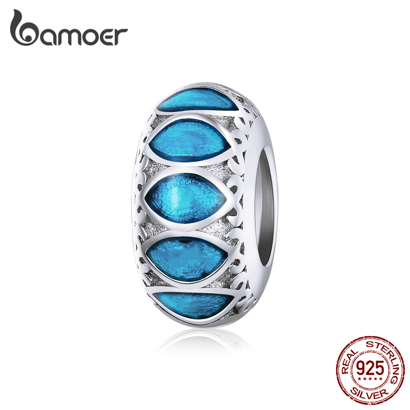 Bamoer Easter Series Blue Enamel Spacer Charm For Original Silver Snake Bracelet 925 Sterling Silver Jewelry DIY Bracelet BSC221