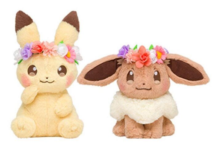 Japan Tomy Anime Pocket Pikachu & Eevee With Flower Head Ring Ver. Plush Toys