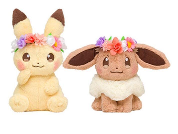Japan Tomy Anime Pocket Pikachu & Eevee With Flower Head Ring Ver. Plush Toys