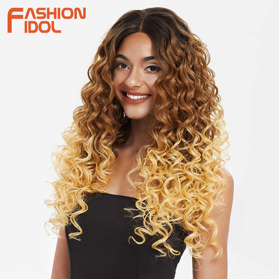 ファッションアイドル 26 インチ合成かつら 360 レースフロントかつらオンブルブロンドディープ波状レースのかつら高コストパフォーマンス熱にくい髪