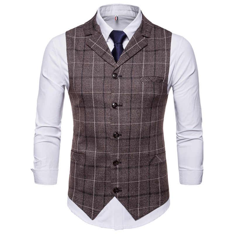 Neue Herren Weste Casual Business Männer Anzug Westen Männlichen Gitter Weste Mode Herren Ärmellose Anzug Weste Smart Casual Top Grau blau