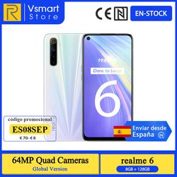 IN STOCK Global Version Realme 6 Smartphone 8GB 128GB 6.5 inch 90Hz Display 64MP Quad Rear Cameras Helio G90T 4300mAh 30W