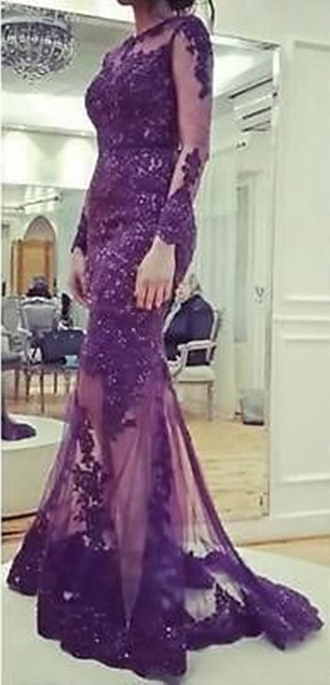 Robe De Soiree 2018 Mermaid High Neck Long Sleeves Beading Tulle Evening Gown Appliqued Formal Mother Of The Bride Dresses