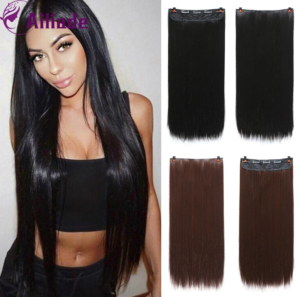 AILIADE длинные прямые синтетические накладные волосы на заколках из высокотемпературного волокна черные темно-коричневые волосы для женщин
