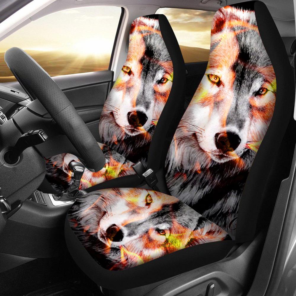Image 3 - HUGSIDEA Cool 3D étoile loup impression housse de siège de  voiture de luxe housse de protection de voiture mode Animal conception  Auto fournitures avec cuir PUHousses de chaise